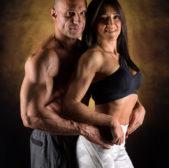 Cassandra e Fabrizio, una coppia di bodybuilders in studio